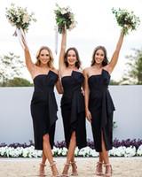Wholesale tea length bridesmaid dresses for sale - Group buy 2018 Strapless Short Bridesmaid Dresses Ruched Split Tea Length Wedding Guest Party Bridesmaids of Honor Dresses