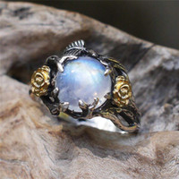 Wholesale black costume jewelry rings for sale - Group buy ROMAD Vintage Moonstone ring for Women Black Costume Jewelry Gold Flower Finger Ring Female jewelry anillos mujer R4