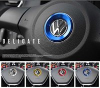 Wholesale volkswagen santana - VW Wheel Logo Sticker Creative Interior Decals Alloy Sticker Steering Wheel Logo Decorative Ring For CC POLO BORA SANTANA TIGUAN PASSAT
