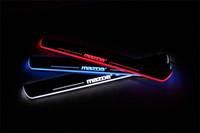 Wholesale Led Illuminated Door Sills - Car LED Illuminated Moving Door Sill Plates LED Welcome Light Door Scuff Pedal Thresholds For mazda CX-5 AXELA mazda 6_ATENZA