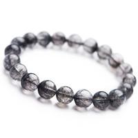 рутиловый кристалл оптовых-2018 Natural Black Rutilated Quartz Round Crystal Bead Bracelet Drop Shipping Fashion Stretch Bracelets Women Men Powerful 10mm