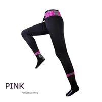 Wholesale good quality yoga pants online - Fashion Pink Letter Women Tracksuits Quick dry Summer Fitness Long Pants Running Gym Outfits Women Sport Yoga Pants good quality