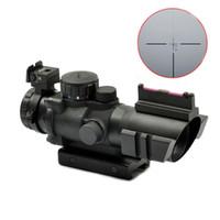 retículo del francotirador del alcance del rifle al por mayor-Tactical Sniper 4X32 Alcance Iluminado Rojo Verde Azul Retículo Fibra óptica Caza Rifle Alcance Negro