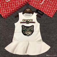 Wholesale new sweet girls - 2018 New Summer Girls Short Sleeve Sweet Princess Dress Animal Printing High Quality Child Cute Clothing