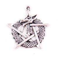 ejderha takılar toptan satış-Kayısı Fu Özel Sihirli Tasarım Kalaylı Ejderha Pentagram Yıldız Gotik Fantasy Charm Kolye Takı Dropshipping Sağlamak