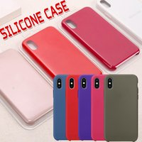 Wholesale silicone rubber boxes - Original Official Liquid Solid Silicone Gel Rubber Shockproof Protective Phone Case Cover For Apple iPhone X 8 Plus 7 6 6S With Retail Box
