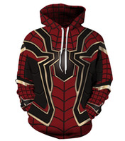 sudaderas de halloween al por mayor-Sudadera con capucha Pulóver Sudadera 3d Avengers Infinity War Iron Spider Halloween Suéter Spiderman Superhero hombres Mujeres Unisex Cosplay