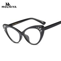 2c0123bbe8 MOLNIYA 2018 Women Fashion Cat Eye Glasses Frame Optical Woman Heart Shape  Elegant Acetate Glasses Women Ultra Light Frame Clear