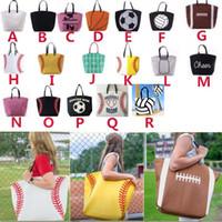 Wholesale soccer bottle resale online - Canvas Bag Baseball Sports Bags Casual Softball Bag Football Soccer Basketball Rugby Tote Bag Color