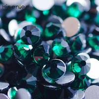 ingrosso pietre scure-Dark Green Charm Flatback Glass Gemstone Nail Strass MISURE MISURE SS3-SS30 Decorazione unghie artistiche Stones Accessori per manicure