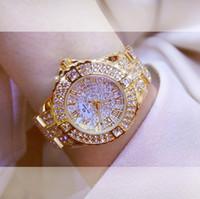 ingrosso guarda i grandi orologi d'argento per le donne-2018 donne strass orologi da uomo argento Lady Dress Watch marchio in acciaio inossidabile banda quadrante grande orologio da polso orologio da polso in cristallo