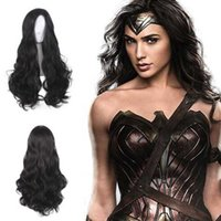 Wholesale wonder woman cosplay costume online - Wonder Woman Princess Diana Wig Cosplay Costume Justice League Women Black Long Wavy Synthetic Hair Halloween Party Wigs