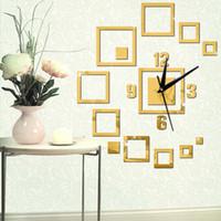 grandes relojes de plata al por mayor-Grandes relojes de pared decorativos reloj de acrílico de diseño moderno decoración del hogar Relojes de lujo reloj de pared de oro cuarzo espejo de plata reloj