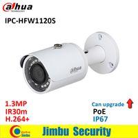 водонепроницаемая камера dahua оптовых-Dahua 1.3 MP IR Mini-IP камера IPC-HFW1120S POE IR30m H. 264 + водонепроницаемая английская прошивка IP67 может обновить камеру видеонаблюдения