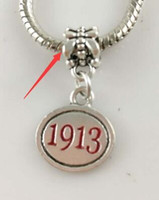 Wholesale Delta Charms - Wholesale-SORORITY GREEK Delta Sigma Theta DST enamel charm red 1913 charm 10pcs a lot