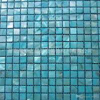 moderne küchenfliesen großhandel-Shell-Mosaik-Fliesen-blaue Ozean-Perlen-Küche Backsplash Badezimmer-Hintergrund-Wand-Bodenbelag-Fliesen Hausgarten-Baumaterialien 210hy bb