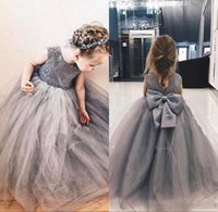 Wholesale grey bow dress - 2018 Grey Lace Appliques Tulle Puffy Ball Gown Flower Girl Dresses Girls Pageant Gowns Vintage Communion Dress Big Bow Back BA8530