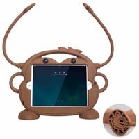 ipad için duruyor toptan satış-Darbeye Vaka ipad 1 2 3 4 ipad hava 1 2 ipad 9.7 Galaxy Tab 7.0 Çocuklar Karikatür Maymun Standı Kapak Tablet Kılıf Asılı Araba Arka Koltukta 30 ADET