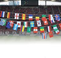 nakliye bayrakları dünya toptan satış-Dünya kupası bayrağı futbol kupası 32 üst ülkeler dizeleri bayrakları 14x21 ve 20x28 cm banner bar dekorasyon kapalı açık asılı bayrak Ücretsiz kargo