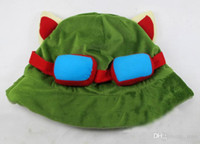 Wholesale teemo cosplay for sale - 10pcs League of Legends cosplay cap Hat Teemo hat Plush Cotton LOL plush toys Hats