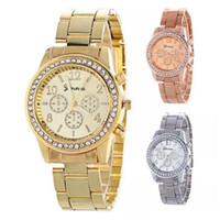 женская мода оптовых-Горячие продажи женщин Женева металл сталь сплава часы мода роскошные дамы платье кварцевый Алмаз аналоговый подарок мужские часы 3 цвета