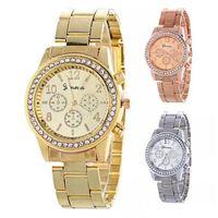 genf damen diamant quarzuhr großhandel-Heiße Verkaufs-Frauen-Genf-Metallstahllegierungsuhrart- und weiseluxusdamen kleiden Quarzdiamant analoge Geschenk-Mensuhren 3 Farben