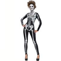 eski karnaval kıyafetleri toptan satış-Yeni Vintage Cadılar Bayramı Kostüm Kafatası Iskelet Iblis Hayalet Cosplay Kostümleri Yetişkinler Karnaval Masquerade Elbise Elbiseler Korkunç Maske