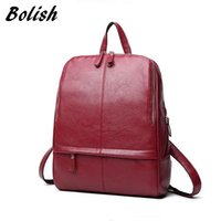 Wholesale Vintage Style Laptop Bags - Bolish Women Vintage PU Mochila Female Daily Shopping Backpack Lady Causal Laptop Rucksack All-Purpose Preppy Style Dames Tassen