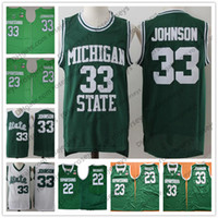 Wholesale draymond green - Michigan State Spartans #23 Draymond Green 33 Earvin Magic 32 Johnson Yellow 22 Miles Bridges Green NCAA MSU College Basketball Retro Jersey