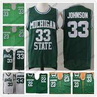 manzanas vintage al por mayor-NCAA Michigan State Spartans # 33 Magic La Earvin Johnson vendimia jersey # 23 Draymond blanca MSU manzana verde retro jerseys 2019 de los hombres de 3XL