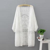 nakış kollu bluz toptan satış-Nakış Uzun Kimono Yaz Tops 2018 Moda Rahat Beyaz Gömlek Kadın Giyim Batwing Kollu Gevşek Bluz Kimono Hırka