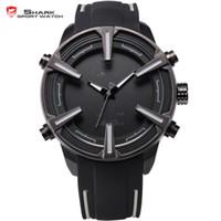 аналоговые часы даты дня оптовых-Shark Sport Watch  Multiple Time Zone Date Day LED Relogio Silicone Strap Analog Digital Quartz  Men Watch / SH388