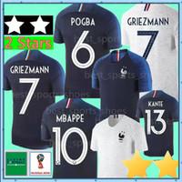 Wholesale shirt stars - MBAPPE GRIEZMANN POGBA 2 Stars World Cup Jerseys 2018 World Cup DEMBELE PAYET KANTE GIROUD THAUVIN Soccer Jersey WOMEN man football shirt