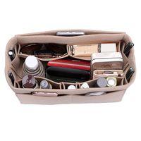 bolsas de cosméticos multifuncionales al por mayor-Womens Maquillaje Organizador / fieltro de tela bolsa de almacenamiento de inserción Bolso cosmético multifuncional Maquillaje bolsa de almacenamiento para organizador de viajes