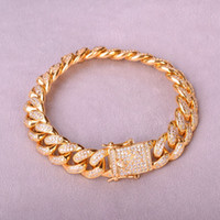 Men's Cuban Bracelet Hip Hop Jewelry Gold Color Top Fashion 12mm Ice Out Cubic Zircon Curb Copper Material Cz Chain