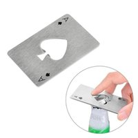 Wholesale steel poker - 8.5*5.5cm Stainless Steel Poker Playing Card Opener Bar Tool Home Decor Kitchen Accessories Party Supplies Wedding Decorations