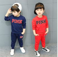 Wholesale boys sweat pants - Love Pink children Tracksuit Sweat Suit Outfit Kid Two Piece Sportswear Boy Girls Sweater+Track Pants Casual Sports Suit Game Clothing sale