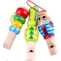 Wholesale mobile children - Wooden Whistle Sound Production For Children Music Toy Animal Whistles Mobile Phone Strap Backpack Intelligence Toys 1 9yh W