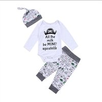 Wholesale pirate costume kids - Newborn Baby Boys Clothing Toddler T-shirt+Pants+Hat 3PCS set Skull Heads Pirate Outfit Infant Boutique Casual Kids Costume Children Pajamas