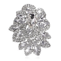 Discount large crystal flower brooch - Clear rhinestone Extra Large Size Luxurious Atmospheric crystal Brooch Fashion Brooch Flowering Pins Jewelry for coat garment