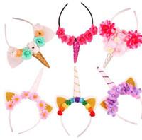 Wholesale hair designs headband online - 16 design Unicorn Headband For Girls And Kids Unicorn Tiaras for Festival Cat Ears Girls Hair Sticks Kids Hair Bow Headband KKA4805