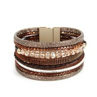 несколько кожаных браслетов оптовых-whole saleORNAPEADIA Brand Harajuku style Accessories Jewelry women's bohemia Luxury Quartz Multiple layers Leather bracelet wholesale