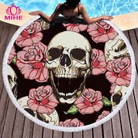 schädelmatte großhandel-MIHE Sugar Skull Round Strandtuch Floral Tassel Yoga Mat Runde Decke Macrame Beach Kühltuch Mikrofaser