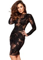 Wholesale womens dresses online - Sexy Club Dress Womens Mini Bodycon Dress Party Bandage Dresses Long Sleeves Bodysuit Lace Patchwork See Through Dress S L