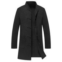 casacos chineses venda por atacado-Casaco de Lã dos homens de Inverno Casaco De Cashmere Homem Longo Único Breasted Casaco Turn-down Collar Casual estilo Chinês moda