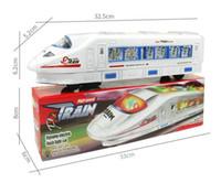 tren eléctrico al por mayor-20 UNIDS música Luz Eléctrica Tren Juguete tren de alta velocidad Juguetes con pilas Trenes Modelo Gran Niños Juguetes de Navidad Regalos para Niños Amigos