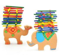 jouet de bloc de tige achat en gros de-Montessori Jouet En Bois Éléphant Chameau Couleur Barre Balance Faisceau Empilable Blocs Enfants Enfants Jouets Éducatifs