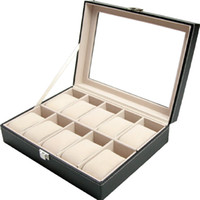 Wholesale box display storage case for sale - Black PU Leather Grid Professional Wrist Watch Box Display Watches Collection Jewelry Holder Organizer Case Storage Boxes kp bb