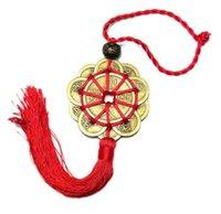 antik dekor toptan satış-10 Şanslı Charm Antik I CHING Paraları Refah Koruma Iyi bir Servet Ev Araba Dekor Kırmızı Çince Düğüm FENG SHUI Set 2 adet / takım