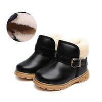 botas de invierno para niños negro al por mayor-Botas de la moda de los niños de invierno negro Chaussure niños Bota de Martin niño calzado deportivo para niños niñas botas calzado # 17